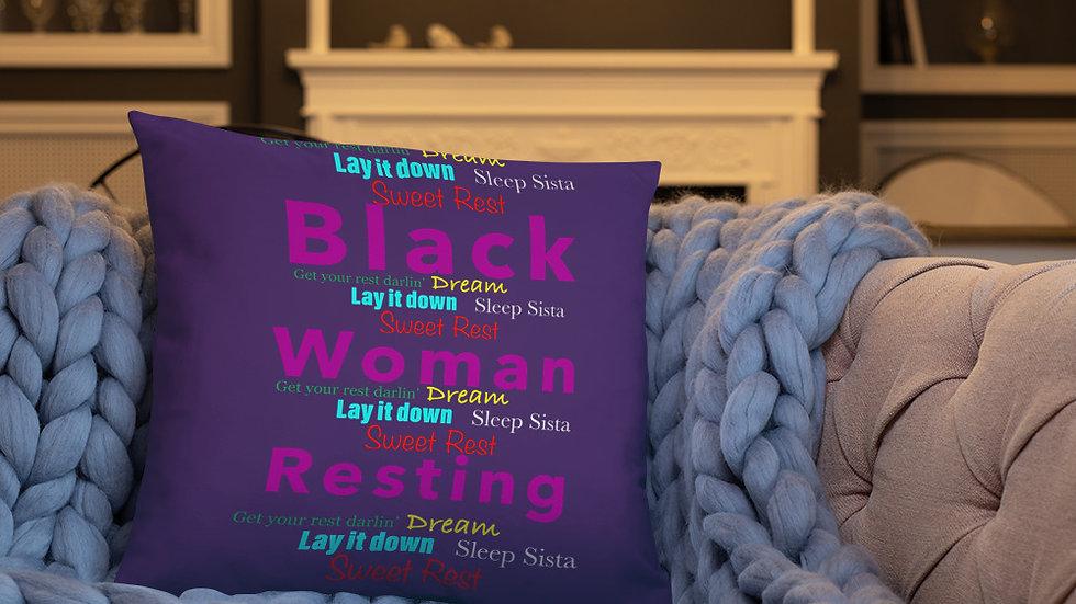 Black Woman Resting Basic Pillow