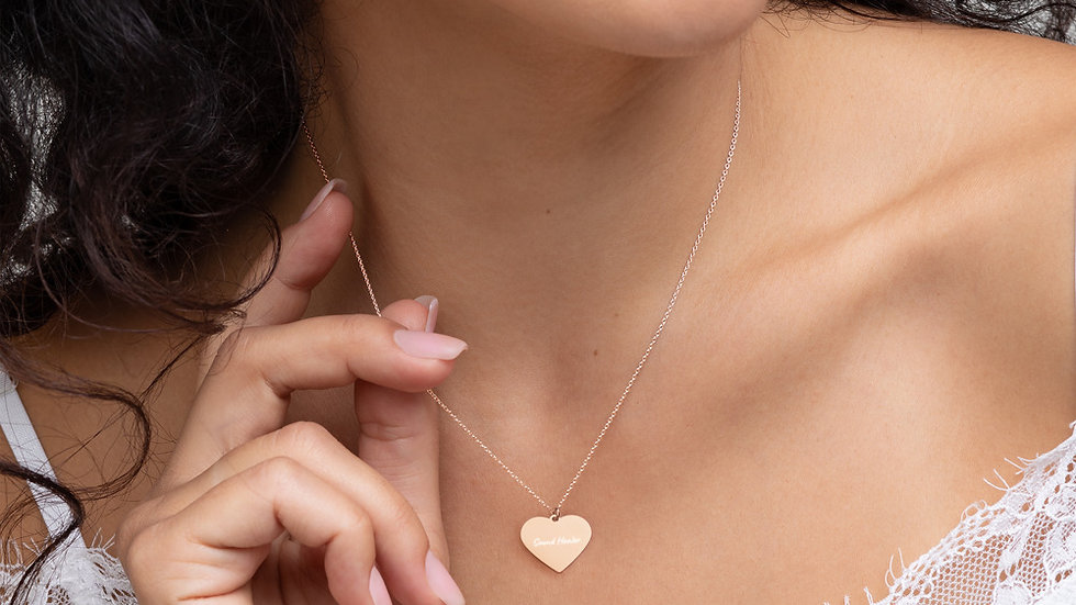 Sound Healer Engraved Silver Heart Necklace