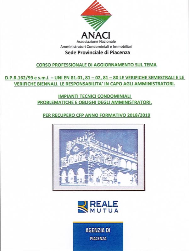 Anaci, il 4 e 5 febbraio nuovo corso sugli impianti tecnici condominiali. Valido per recupero cfp an