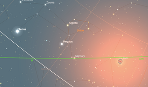 Position of Venus at 21:25 27/07/2018 | Stargazing UK Blog