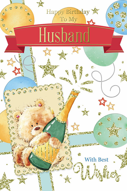 Happy Birthday Husband Teddy Champagne Card
