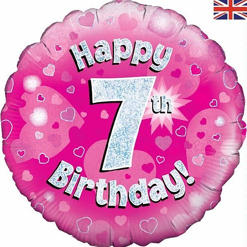 18IN HAPPY 7TH BIRTHDAY PINK FOIL BALLOON
