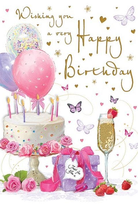 Happy Birthday Cake & Balloons Card