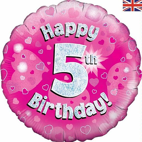 18IN HAPPY 5TH BIRTHDAY PINK FOIL BALLOON