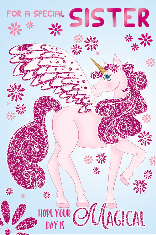 Happy Birthday Sister Unicorn Card