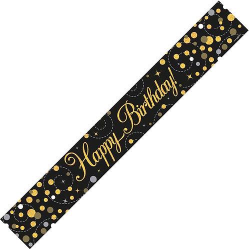 HAPPY BIRTHDAY GOLD SPARKLES 9FT FOIL BANNER