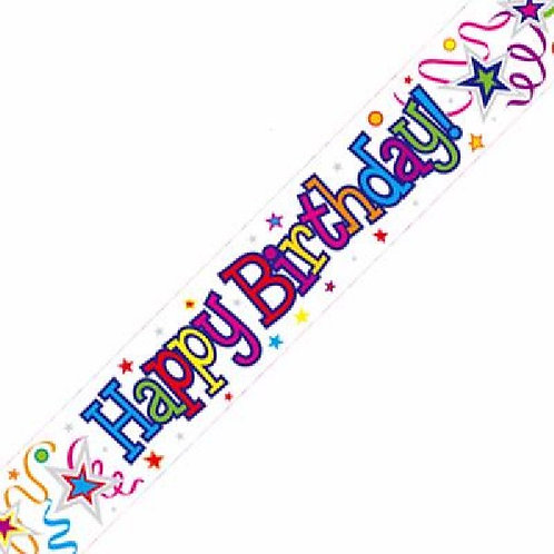 WHITE HAPPY BIRTHDAY 9FT FOIL BANNER