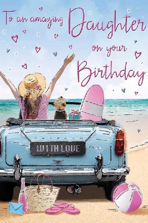 Happy Birthday Daughter Beach Car  Card
