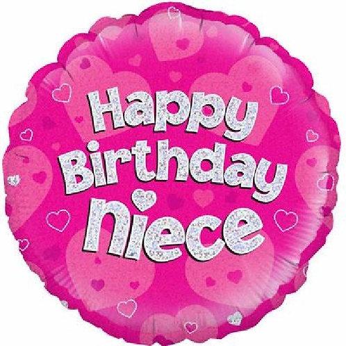 18IN HAPPY BIRTHDAY NIECE PINK FOIL BALLOON