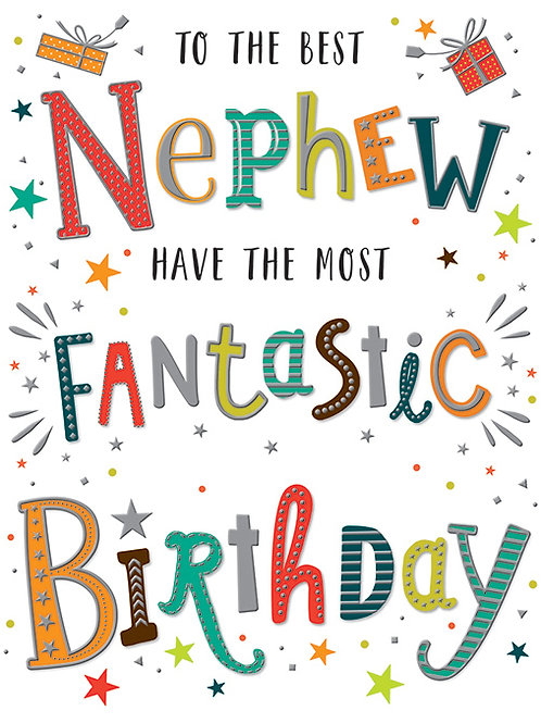 Happy Birthday Nephew Colourful Words Card