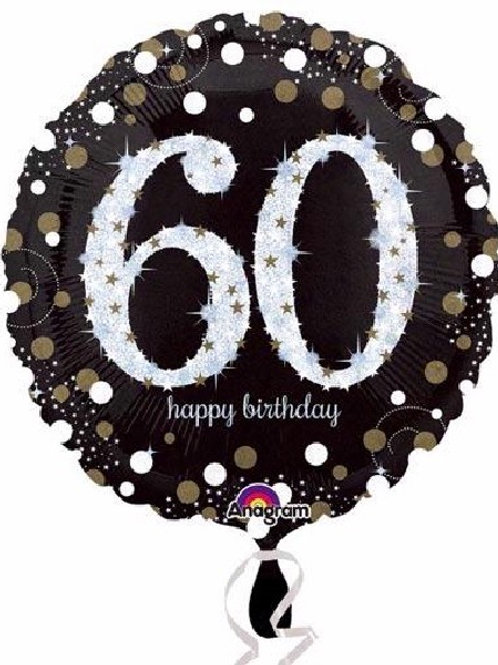 18IN 60TH BIRTHDAY GOLD SPARKLES FOIL BALLOON