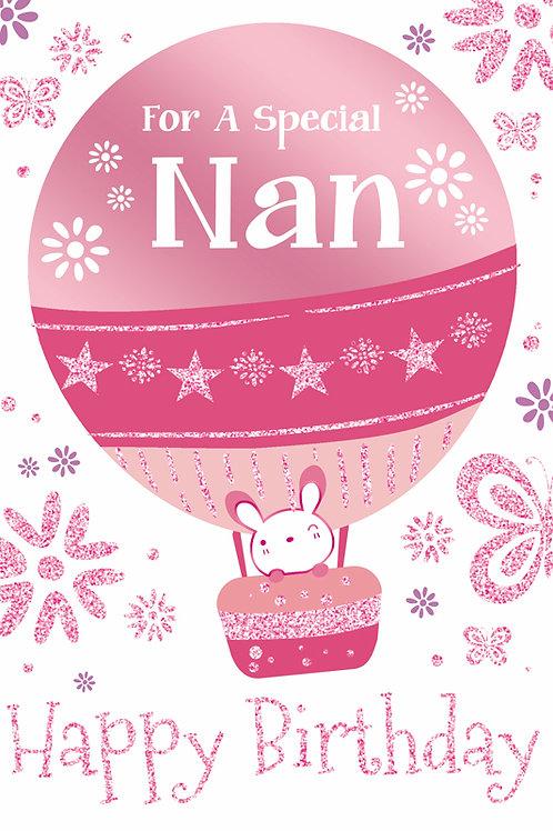 Happy Birthday Nan Balloon Card