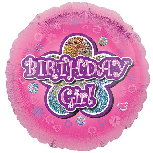 18IN BIRTHDAY GIRL PINK WITH FLOWER FOIL BALLOON