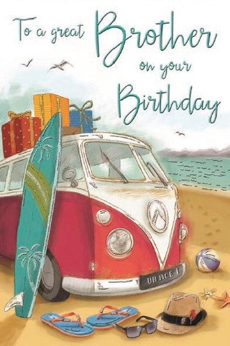 Happy Birthday Brother Beach Card
