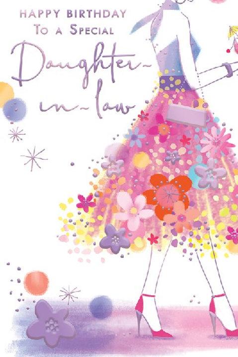 Happy Birthday Daughter-in-Law Flowery Skirt Card