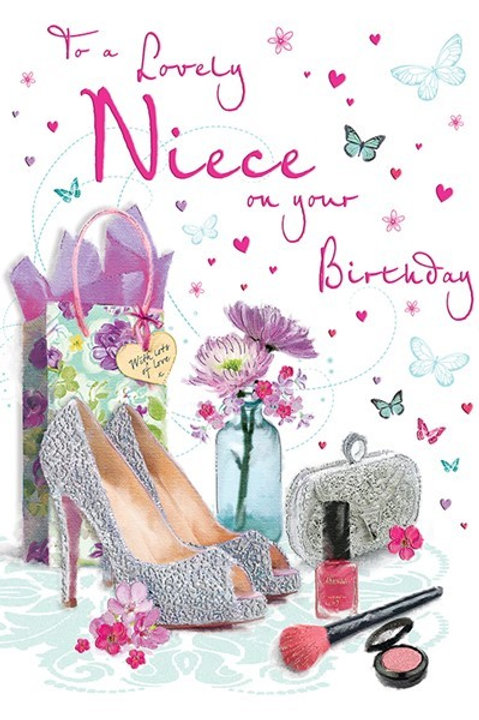 Happy Birthday Niece Shoes & Make Up Card