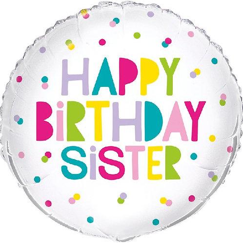 18IN HAPPY BIRTHDAY SISTER WHITE FOIL BALLOON