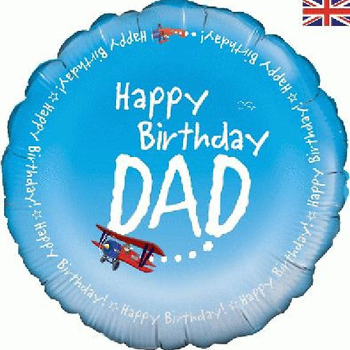 18IN HAPPY BIRTHDAY DAD AEROPLANE BALLOON FOIL