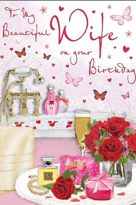 Happy Birthday Wife Bath & Roses Card