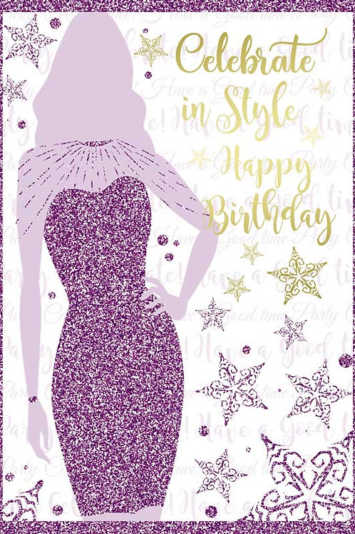 Celebrate in Style White Glittery Birthday Card