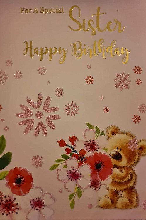 Happy Birthday Sister Teddy Flowers Card