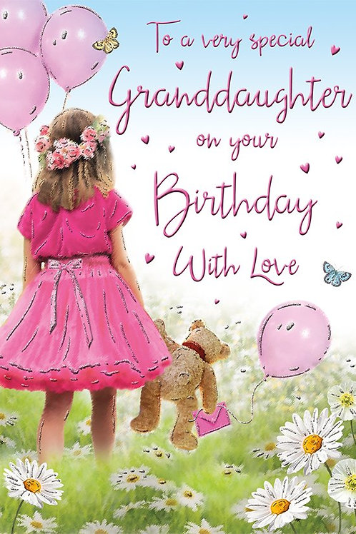Happy Birthday Granddaughter & Teddy Card