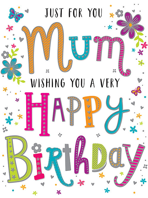 Happy Birthday Mum Colourful Words Card
