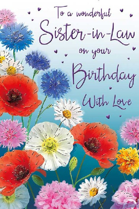 Happy Birthday Sister-in-Law Flowers Card