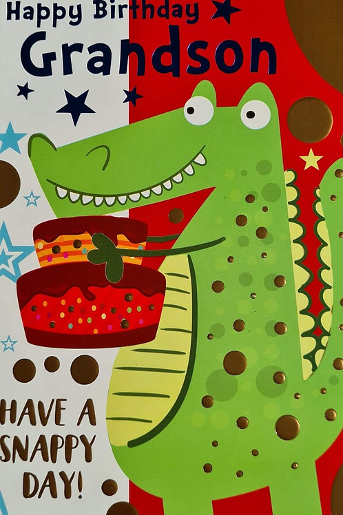 Happy Birthday Grandson Crocodile Card