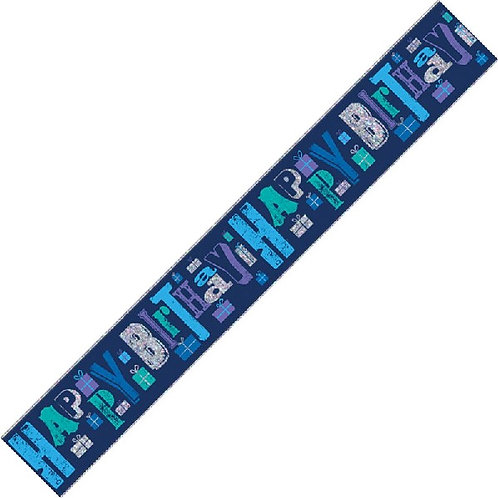HAPPY BIRTHDAY BLUE 9FT FOIL BANNER