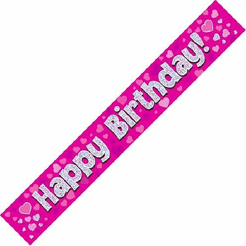 HAPPY BIRTHDAY PINK & HEARTS 9FT FOIL BANNER