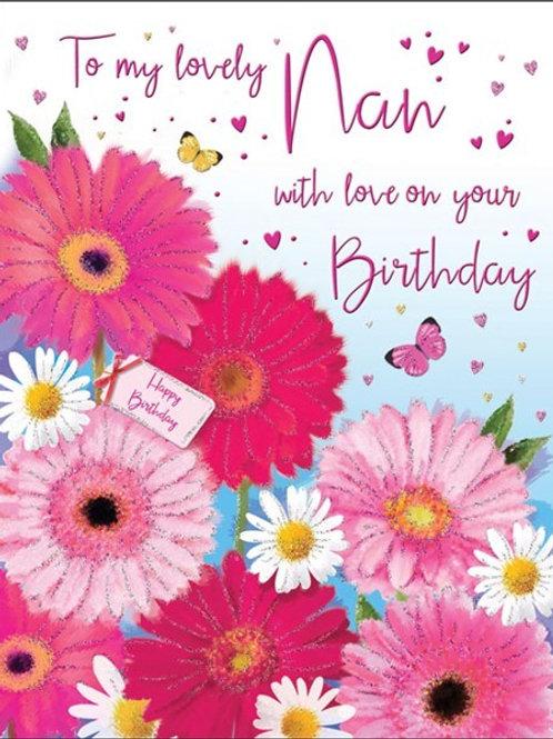 copy of Happy Birthday Nan Flowers Card