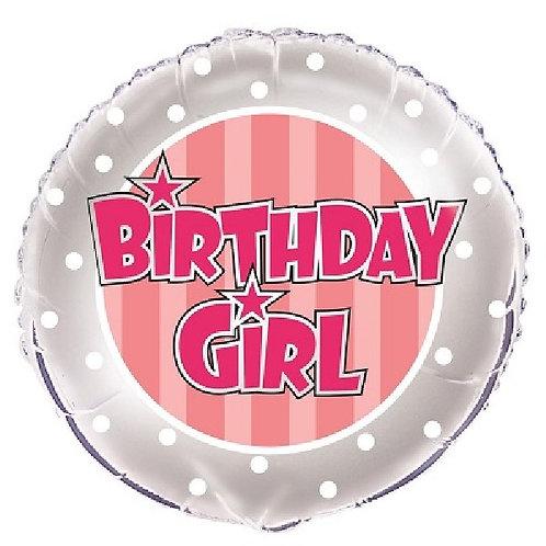 18IN PINK STRIPE BIRTHDAY GIRL FOIL BALLOON