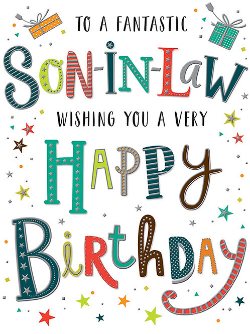 Happy Birthday Son-in-Law Colourful Lettering Card