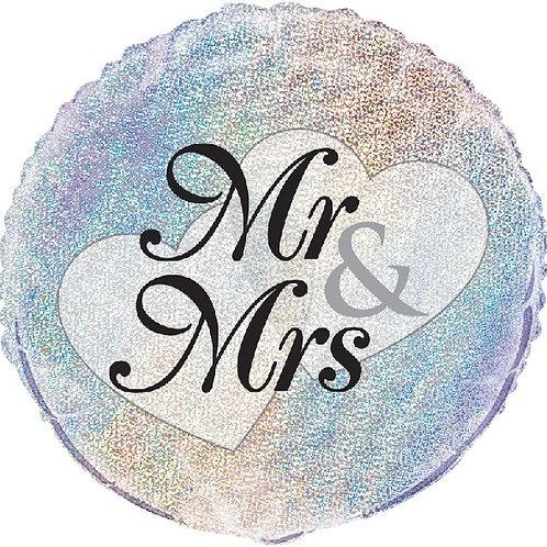 18IN MR. & MRS. PRISM FOIL BALLOON