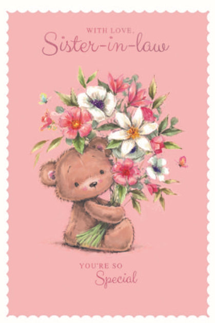 Happy Birthday Wife Pink Flowery Teddy Card