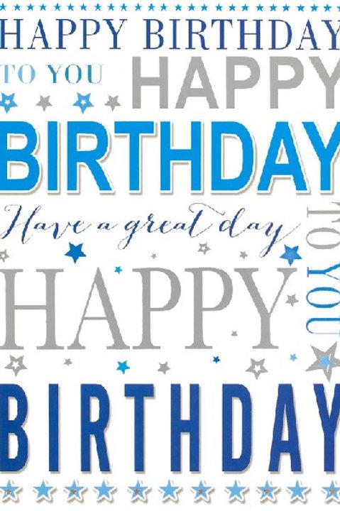 Blue & Silver Happy Birthday Card