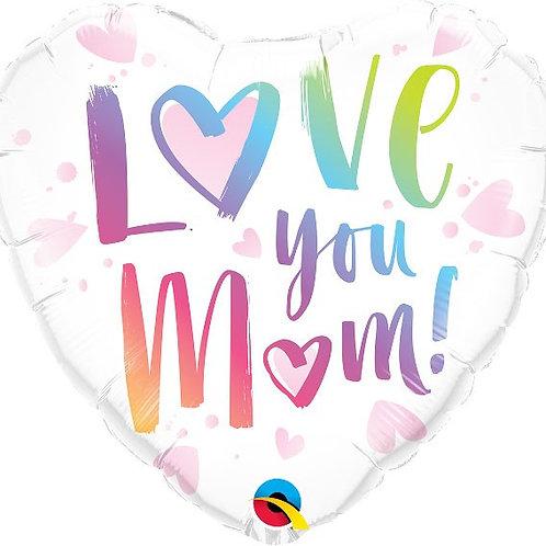 18IN LOVE YOU MOM HEART FOIL BALLOON