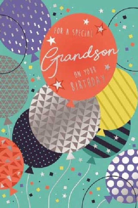 Happy Birthday Grandson Balloons Card