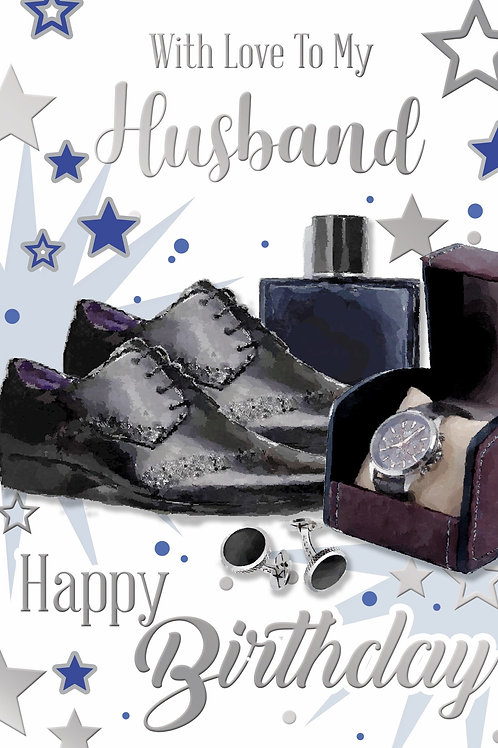 Happy Birthday Husband Black Shoes Card