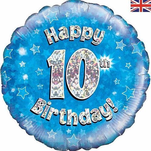18IN HAPPY 10TH BIRTHDAY BLUE FOIL BALLOON