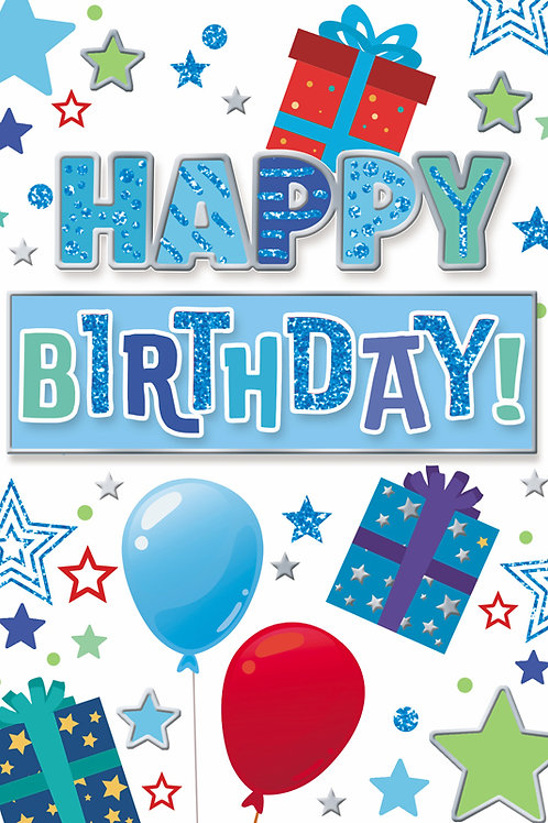 Balloons, Gifts, & Stars Birthday Card
