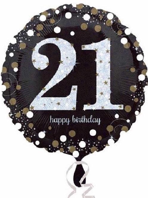 18IN 21ST BIRTHDAY GOLD SPARKLES FOIL BALLOON