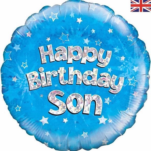18IN HAPPY BIRTHDAY SON BLUE FOIL BALLOON