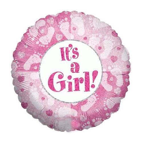 18IN ITS A GIRL FOOTPRINT FOIL BALLOON