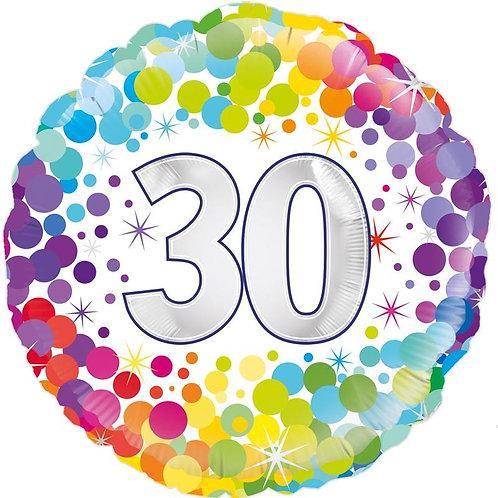 18IN COLOURFUL CONFETTI 30TH BIRTHDAY