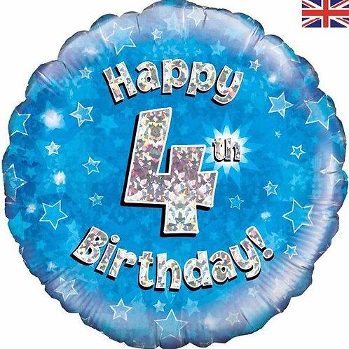 18IN HAPPY 4TH BIRTHDAY BLUE FOIL BALLOON