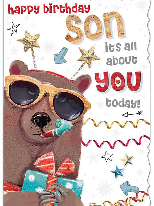 Happy Birthday Son Party Bear Card