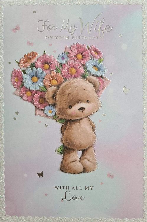 Happy Birthday Wife Flowery Teddy Card