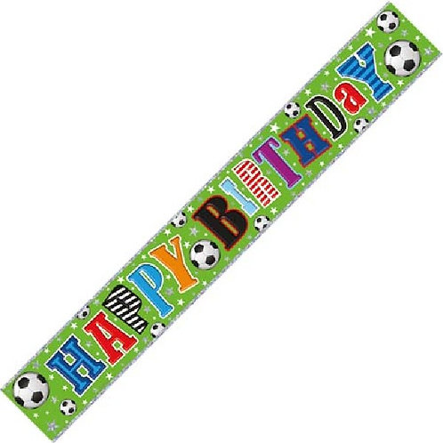 HAPPY BIRTHDAY WITH FOOTBALLS 9FT FOIL BANNER